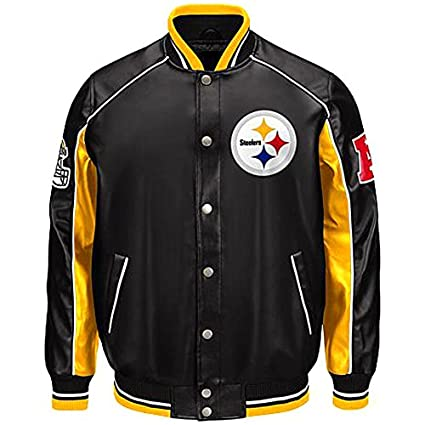 online store 5f884 e0b24 Amazon.com : Pittsburgh Steelers Faux leather jacket NFL ...