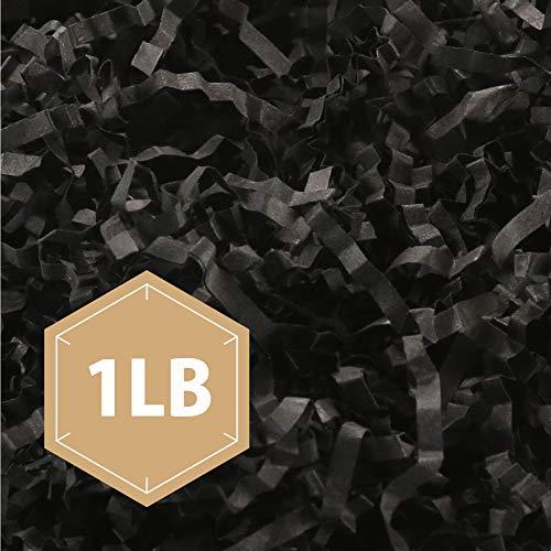PACKHOME 1 LB Crinkle Cut Paper Shredded Paper Shred Filler, Premium Quality for Gift Packing and Baskets Filling (Black) ()