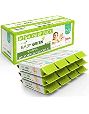 Baby Green - Biodegradable Baby Wipes Unscented – Value Pack (12 Packs of 72) 864 – 99% Pure Water Plastic FREE Moist Newborn Diaper Wipes Fragrance Free, Wet Wipe for Babies & Adults Sensitive Skin