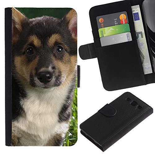 EuroCase - Samsung Galaxy S3 III I9300 - German shepherd corgi fox terrier dog - Cuero PU Delgado caso cubierta Shell Armor Funda Case Cover