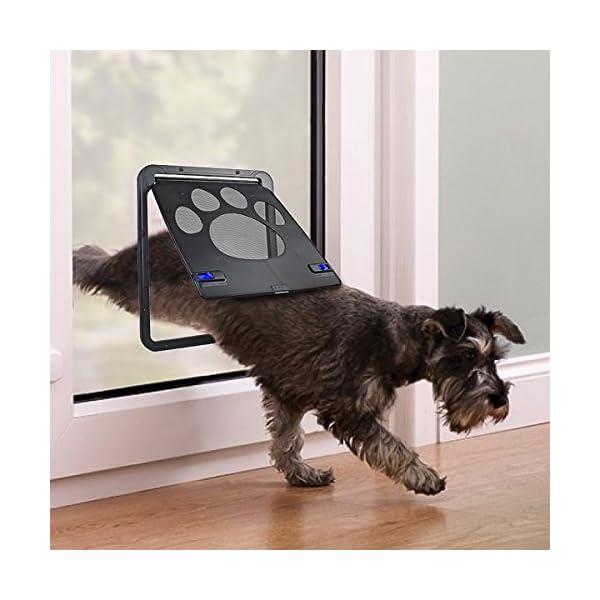 PETLESO Dog Door Screen – Lockable Pet Door for Screen Pet Door for Small to Large Dogs Cats – Large (Inside – 8.25″×10.5″)
