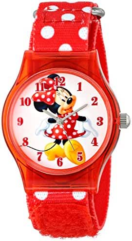 Disney Kids' W001250 Tween Minnie Mouse Plastic Watch, Analog Display, Analog Quartz, Red Watch