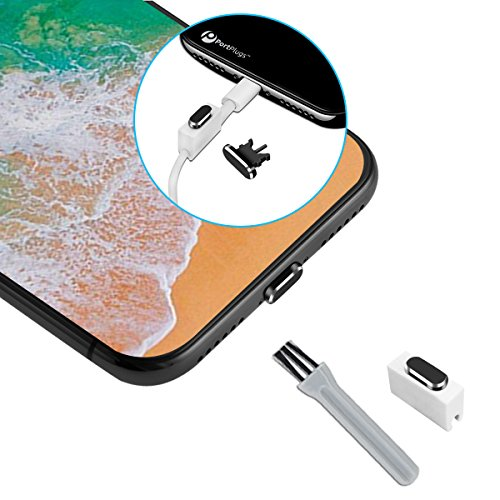 2-in-1 iPhone Aluminium Lightning Port Plugs (Set of 2) - Port Cleaning Brush & Cord Holder Included – For iPhone 7, 7 Plus, 8, 8 Plus, and X (Black w/ SIM tool)