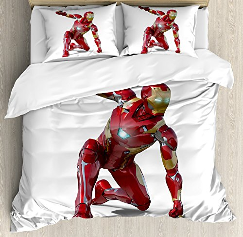 Superhero Duvet Cover Set King Size by Ambesonne, Robot Transformer Hero with Superpower in Costume Cyber Man Fun Character Print, Decorative 3 Piece Bedding Set with 2 Pillow Shams, White Maroon