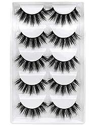 GGOKOK False Eyelashes 3D Faux Mink Eyelashes Handmade Luxurious Volume Fluffy Natural False Eyelashes Fluffy Long Soft Reusable Eyes Lashes Dramatic Eyelashes 5 Pairs
