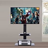 RFIVER Black Floor TV Stand with Universal Swivel Bracket Mount for 32 to 65 inch Plasma LCD LED Flat or Curved Screen TV, Adjustable Height and Two Tempered Glass Shelves TF2001