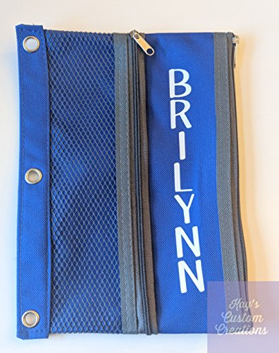 Personalized Pencil, Pen, Marker Case/Pouch for 3 ring binder (blue, red, green, black) by Kays Custom Creations