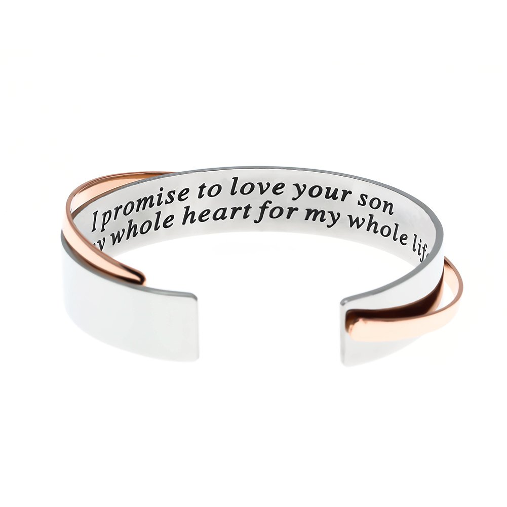 Mother of the Groom Gift, I Promise To Love Your Son With My Whole Heart for My Whole Life Stainless Steel Bracelet. Wedding Bangle Gift.