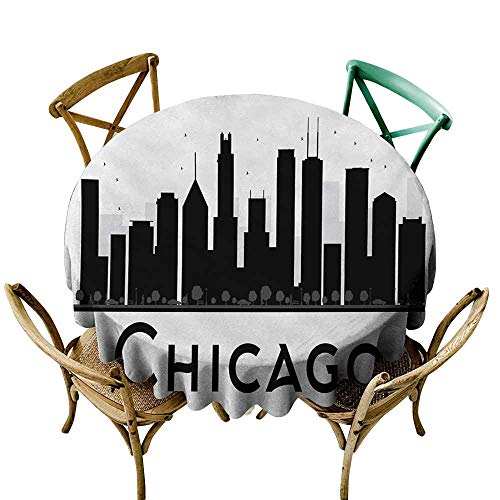 Mkedci Dustproof Tablecloth Chicago Skyline Simplistic Urban Silhouette Tourism Downtown Business City Buildings Party D63 Black and White