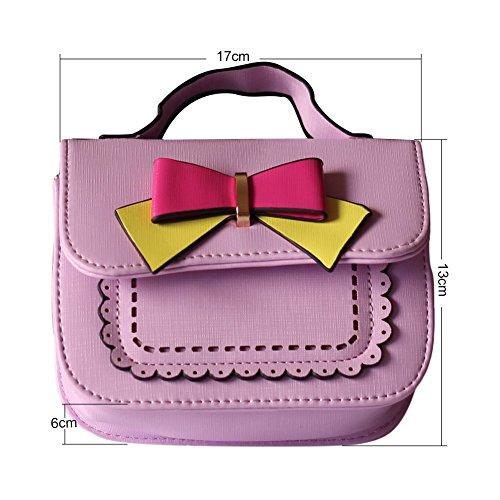 Pueri Mini Bolsa de Mensajero para Muchachas Bolso Pequeño de Mano Decoración de Lazo Lindo Violeta