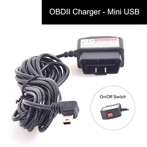 Auto OBD2 Charging Cable Mini USB Power Adapter with Switch Button - 16Pin OBD2 Connector Direct Link Car Charger for GPS DVR Dash Cam E-Dog Phone - 3M/11.5FT Wire - 12-24V