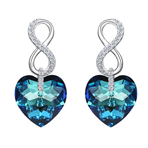 - EVER FAITH 925 Sterling Silver CZ Infinity Heart Drop Earrings Blue Adorned with Swarovski Crystals