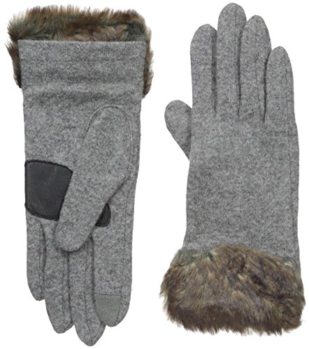 Echo Design Women's Wool Blend Tech Glove with Faux Fur Cuff, Heather Grey, Extra Large