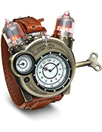 Steampunk-Styled Tesla Analog Watch Weathered-Brass Look on Metal Findings Plus Leather Strap