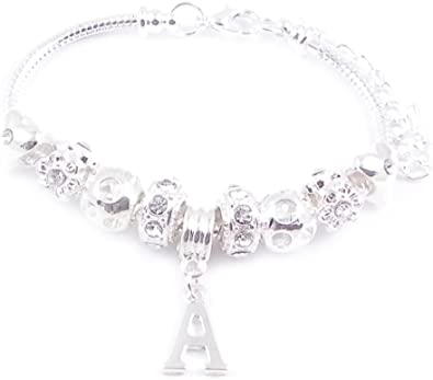 Charm Bracelet with Letter Initial Charm of your choice Silver Plated