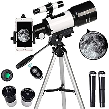ToyerBee Telescope for Kids& Beginners, 70mm Aperture 300mm Astronomical Refractor Telescope, Tripod& Finder Scope- Portable Travel Telescope with Smartphone Adapter and Wireless Remote