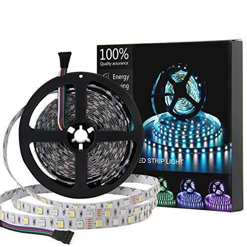 SUPERNIGHT LED Strip Light, 5050 16.4ft RGBW Non-waterproof LED Flexible Lighting, 12V 300LEDs, 5M Multi-colored LED Tape Lights -