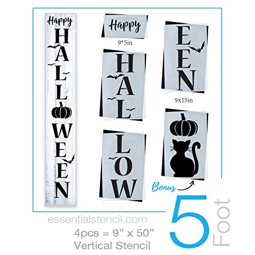 Reusable Halloween Sign Stencil for Painting on Wood | Ideal for 5ft Vertical Porch Sign (DIY Entrance Sign)