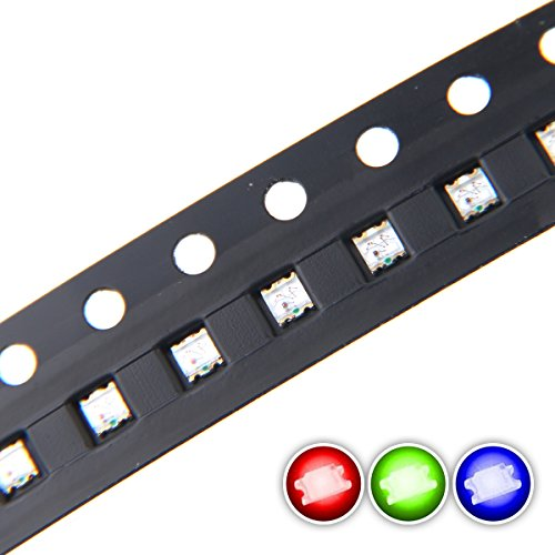 Chanzon 100 pcs 0603 SMD RGB Multicolor LED Diode Lights Chips (Red Green Blue Tricolor 1.6mm x 1.6mm Common Anode 4 pin DC 20mA/Color) Lighting Bulb Lamps Electronics Components Light Emitting Diodes
