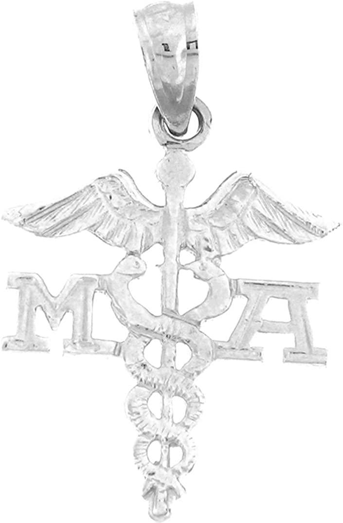 Medical Assistant Pendant 24 mm Jewels Obsession 14K White Gold M.A