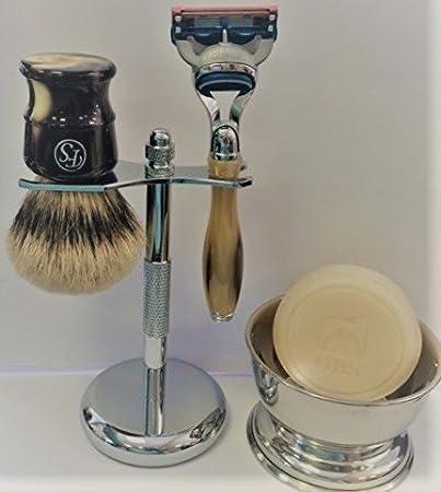 5 Piece Mens Shaving Gift Set - Fusion Razor + Silvertip Badger Brush +  Bowl + Soap