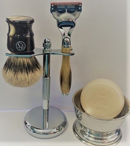 5 Piece Mens Shaving Gift Set - Fusion Razor + Silvertip Badger Brush + Bowl + Soap -