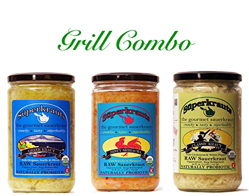 Grill combo-pack: raw fermented sauerkraut, organic, probiotic, kosher and unpasteurized No shipping charges with this combo pack. by Superkrauts