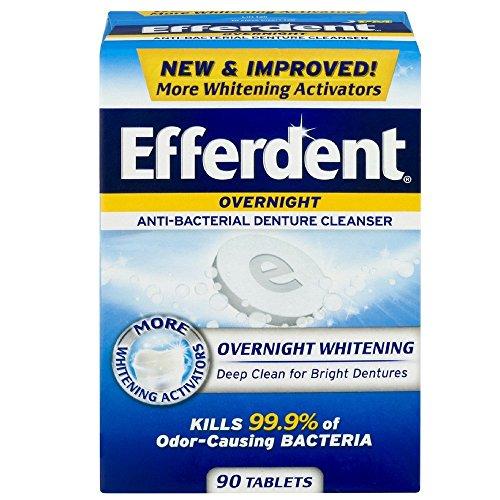 Efferdent PM Overnight Anti-Bacterial Denture Cleanser Tablets 90 ea (Pack of - Tablet Efferdent Denture