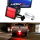 iJDMTOY Red Lens 12-LED Super Bright Brake Light Trailer Hitch Cover Fit Towing & Hauling 2″ Standard Size Receiver
