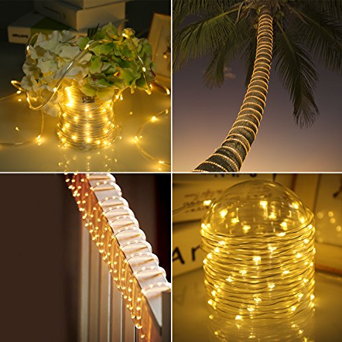 GreenClick LED Rope Lights, Battery Operated Christmas String Lights Waterproof 46ft 120 LED Remote Timer 8 Mode Dimmable Battery Fairy Lights for Outdoor Indoor Christmas Decoration (Warm White)