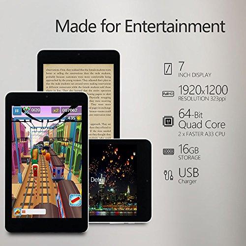 [iloilo]Alldaymall Tablet with 64 bits Quad Core CPU, 7 HD 1920x1200 IPS  Display, Android 5 1 Lollipop, 1GB RAM 16GB Flash, Wi-Fi, Bluetooth, Dual