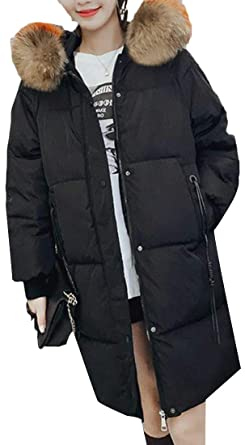 2c9634d7db4 Big Tang Women Quilted Down Jacket Outwear Plus Size Loose Fit Faux Fur  Hooded Parka Coat