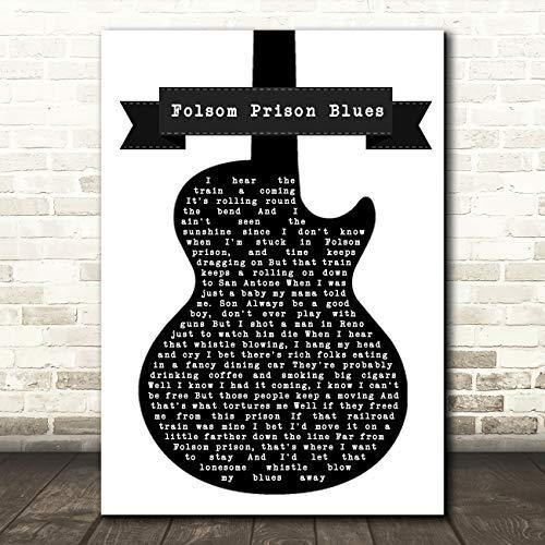 Folsom Prison Blues Black & White Guitar Song Lyric Quote Music Print (Zoo Folsom Christmas)