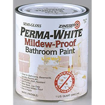 Zinsser 02754 Quart Semi Gloss Perma White® Mildew Proof Bathroom Paint
