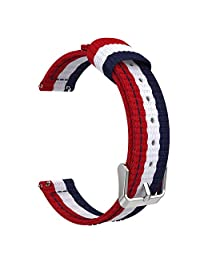 "Universal 18mm Quick Release Watch Band, MoKo Fine Woven Nylon Adjustable Replacement Strap for Huawei Watch 1st/Fit Honor S1, Asus Zenwatch 2 1.45"", Withings Activite Pop/Pulse Ox, Blue & White & Red"