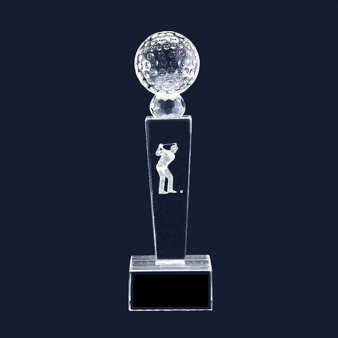 Amazon.com : Crystal Golf Ball Tower Trophy with Male Hologram | 10