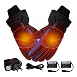 Heated Gloves,SHZONS USB Constant Temperature Electric Thermal Gloves Rechargeable Battery Operated Waterproof Insulated Winter Adult Unisex Gloves for Outdoor Activities
