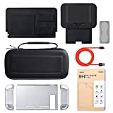 7 In 1 Nintendo Switch Starter Kit, Sunix Improved Hard Back Case with Carrying Case, Ultra Slim Screen Protector, Stand, Type-C Cable, Game Card Holder and Unique Designed Base Case