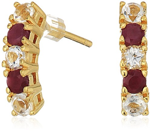 Sterling Silver Natural Ruby and White Topaz J-Hoop Earrings with 14k Yellow Gold (14k Gold Overlay Hoop Earrings)