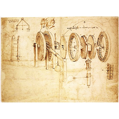 Meishe Art Canvas Poster Print Wall Art Artwork Pictures Sketch Toothed Gears Hygrometer Crane Ladder Codex Atlanticus by Leonardo da Vinci Painting Reproduction (Canvas Print without Frame)