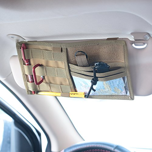 Tactical Molle Vehicle Visor Panel Truck Car Sun Visor Organizer Holder Pouch Sunshade Storage Bag (Tan) (Organizer Sun Visor)