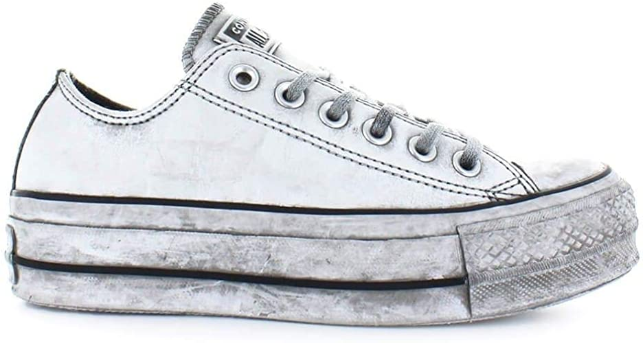 Converse Femme 562911C Blanc Cuir Baskets: Amazon.fr ...