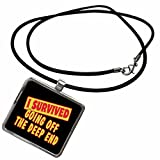 3dRose Dooni Designs Survive Sayings - I Survived Going Off The Deep End Survial Pride And Humor Design - Necklace With Rectangle Pendant (ncl_117978_1)