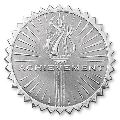 Deluxe Embossed Achievement Torch Silver Foil Certificate Seals, 2 Inch, Self Adhesive, 102 (Deluxe Foil Seals)