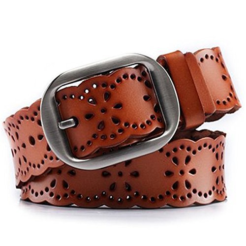 (JASGOOD Women's Hollow Flower Genuine Cowhide Leather Belt With Alloy Buckle)