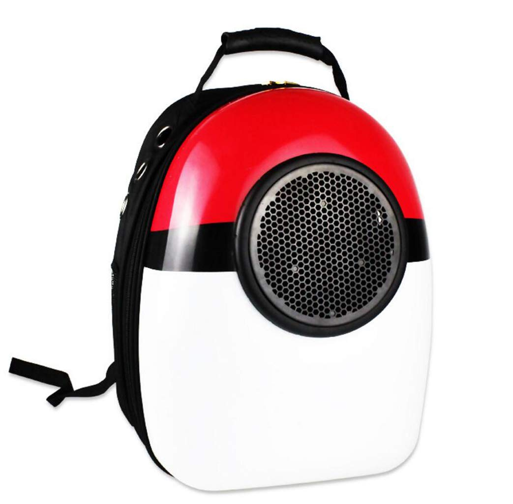 Red white GHGJU Pet Supplies Pet Space Backpack Out Portable Pet Bag Breathable Dog Backpack Cat Bag (color   Red white)