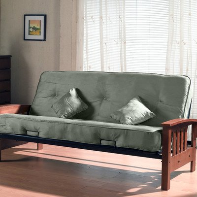 Primo International Indie Complete Futon with Pillows, Wooden Arms and 8-inch Pocket Coil Mattress, Herbal