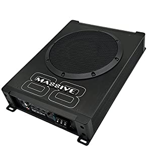 Powered Subwoofer by Massive Audio | Boom88 Car Subwoofers Under Seat Slim Hideaway | Low Profile Compact Underseat Woofer with Amazing Sound | Built in Amplifier, 8 Inch 400 Watt, Gain Remote Include