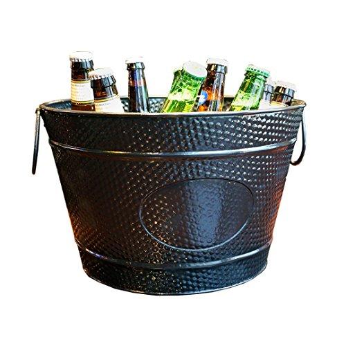 BREKX Hillcrest Black Hammered Beverage Party Tub & Wine Chiller - 15 Quart ()