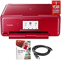 Canon PIXMA TS8120 Wireless Printer w/Scanner & Copier Red + Warranty Bundle